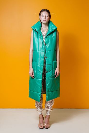 Picture of Green quilted vest coat