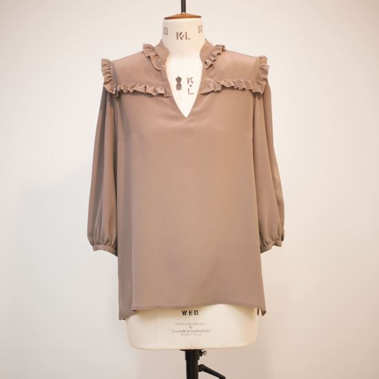 Picture of Silk ruffle trimmed blouse