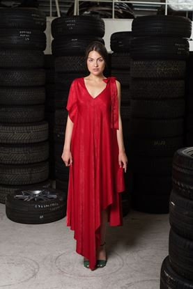 Picture of Red satin dress
