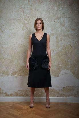 Picture of Black dress with fur pockets