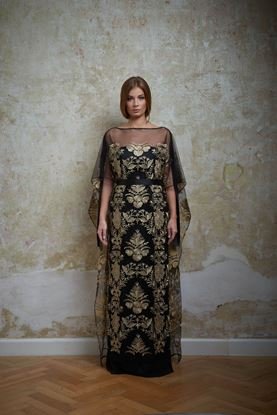 Picture of Black and gold embroidered dress