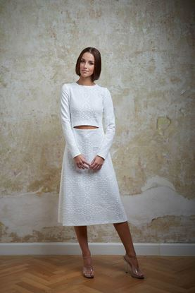 Picture of White embroidered cut-out dress