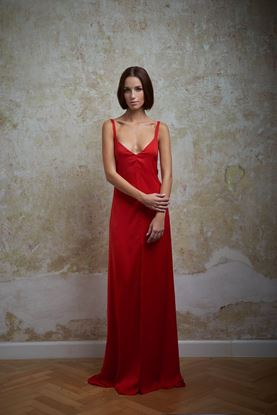 Picture of Red satin evening dress