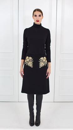 Obrázek Vlněná sukně se zlatou výšivkou
