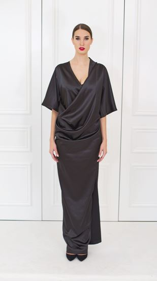 Picture of Black satin wrap dress