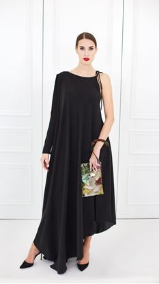 Picture of Silk assymetrical evening black dress