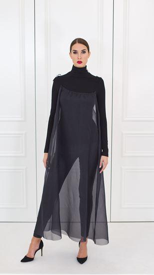 Picture of Black silk organza evening dress