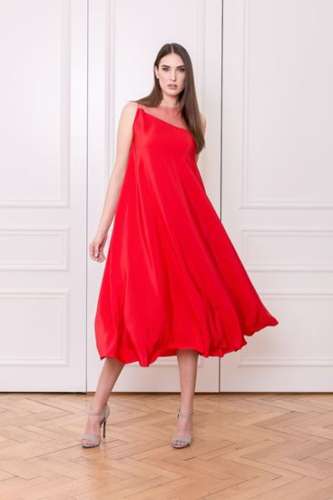 Picture of Red silk wedding dress