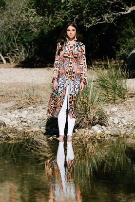 Obrázek Vzorované hedvábné košilové šaty