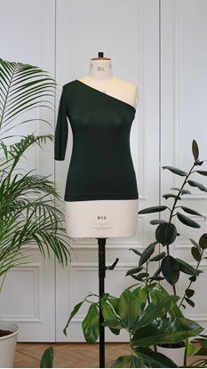Obrázek Triko na jedno rameno tmavě zelené