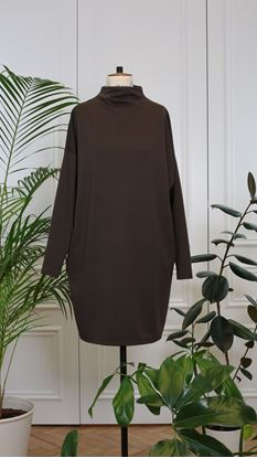 Obrázek Basic rolákové šaty hnědé