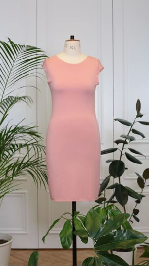 Picture of Basic knitted dress powder pink