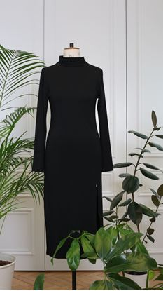 Obrázek Rolákové šaty s rozparkem černé