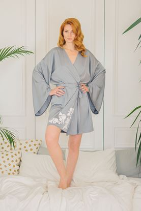 Picture of Kimono gown and shorts gray