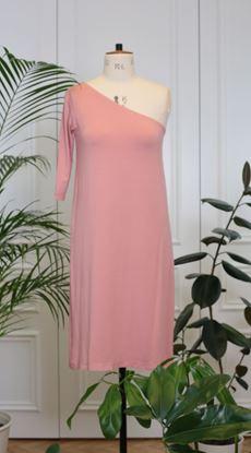 Obrázek Šaty na jedno rameno růžové