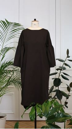 Picture of Bell-sleeve dress brown